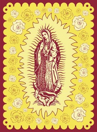 Vierge mexicaine de Guadalupe - affiche de style vintage de sérigraphie