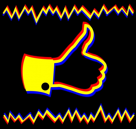 Thumbs Up vector icon - 3D movie effect Vector