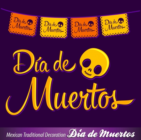 Dia de Muertos - Mexican Day of the death spanish text vector decoration - lettering