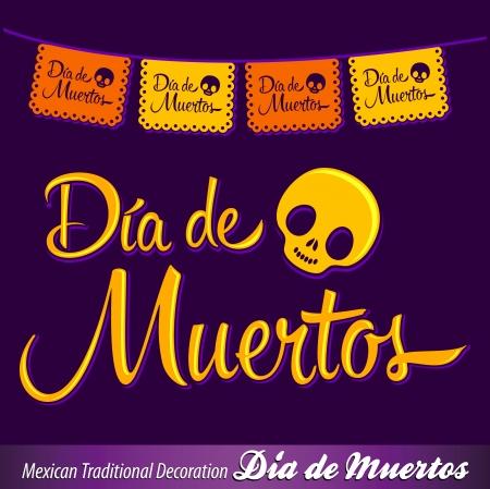 dia de muerto: Dia de Muertos - día mexicano de la muerte español texto vector decoración - letras