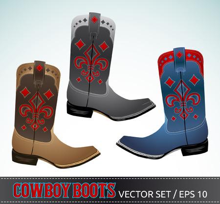 Cowboy Boots - detailled illustration - vector set   イラスト・ベクター素材