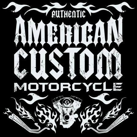 American custom - Chopper Motorcycle elements - card - lettering Vector