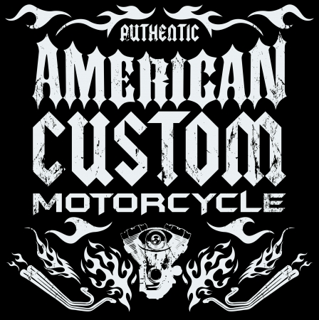 American custom - Chopper Motorcycle elements - card - lettering