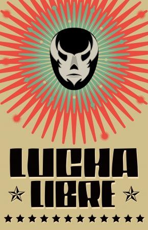 펄프: 레슬링 - 레슬링 스페인어 텍스트 - 멕시코 레슬러 마스크 - 포스터