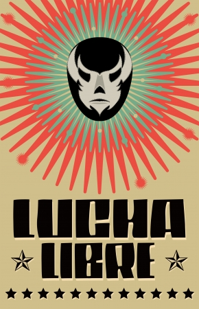 Lucha Libre - wrestling  spanish text - Mexican wrestler mask - poster Иллюстрация