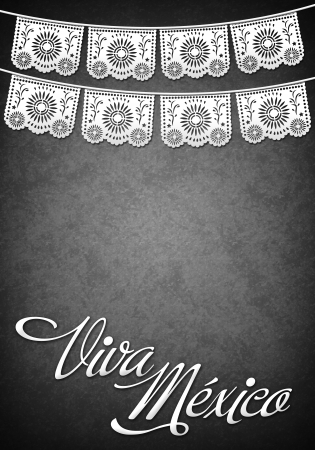 cut paper: Viva Mexico - Mexican decoration poster template - copy space