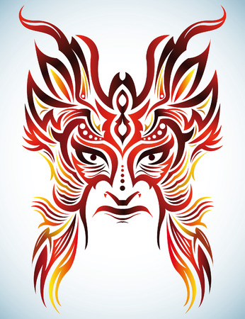 paganism: Colorful Vector mask - tribal - tattoo
