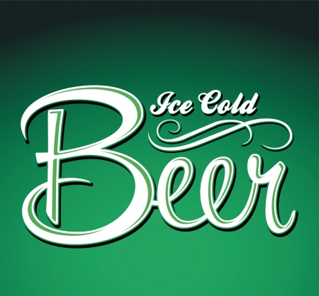 cold: Ice cold beer vector - lettering - sign