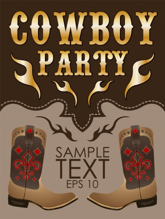 concert poster: Cowboy party poster vector - invitation