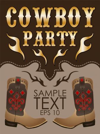 Cowboy party poster vector - invitation