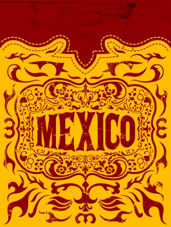 western pattern: Viva Mexico - mexican holiday vector poster  Illustration