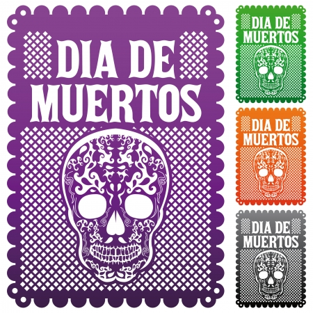 cut paper: Dia de Muertos - Mexican Day of the death spanish text decoration set