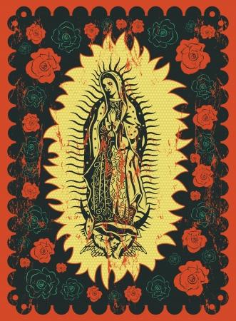 メキシコの聖母グアダルーペ - ビンテージ シルク スタイル ポスターの