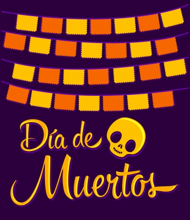 tradition: Dia de Muertos - Mexican Day of the death spanish text vector decoration - lettering