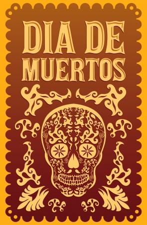 died: Dia de Muertos - d�a mexicano de la muerte espa�ol texto vector decoraci�n - letras