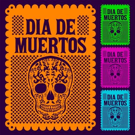 dia de muertos: Dia de Muertos - día mexicano de la muerte español texto conjunto decoración