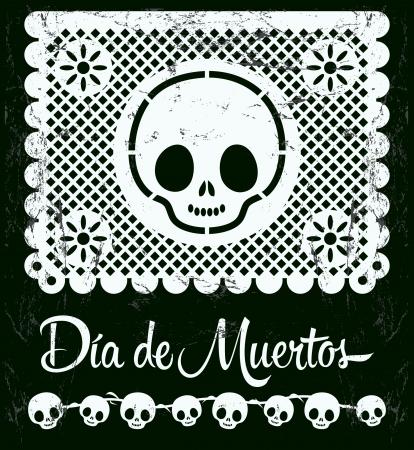 죽은: 디아 드 무 에르 토스 - 죽음 스페인어 텍스트 벡터 장식의 멕시코 주 - 문자 일러스트