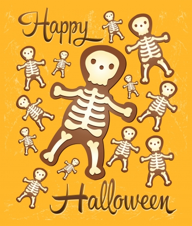 compostion: Skeleton ginger Halloween cookies for party