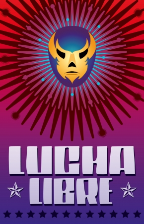 Lucha Libre - wrestling  spanish text - Mexican wrestler mask - poster Illustration
