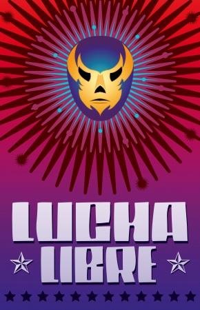 Lucha Libre - wrestling  spanish text - Mexican wrestler mask - poster Vettoriali
