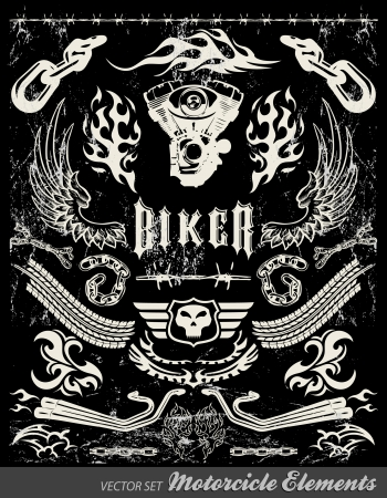 Chopper Motorcycle elements - chalkboard - Grunge effects can be easily removed