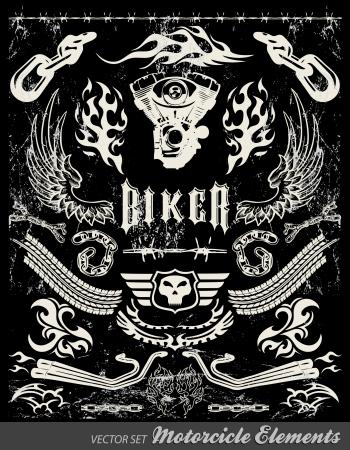 usunięta: Elementy motocykli Chopper - Tablica - grunge skutki mogą być łatwo usunięte Ilustracja