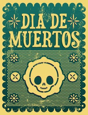 street party: Dia de Muertos - Mexican Day of the death spanish text vector decoration - Grunge effects can be easily removed