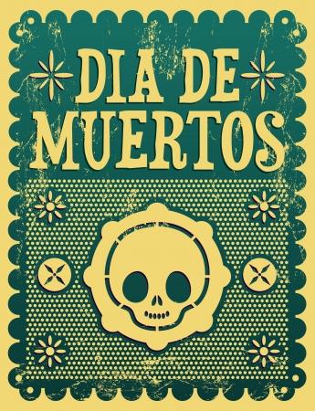 Dia de Muertos - Mexicaanse Dag van de dood Spaanse tekst vector decoratie - Grunge effect kan gemakkelijk worden verwijderd