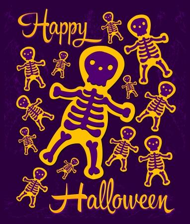 halloween party: Happy Halloween - Skelet Halloween party Stock Illustratie