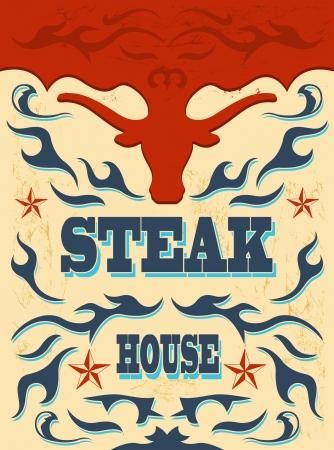 Vintage - western Steak House Poster  Vector illustration  Vector