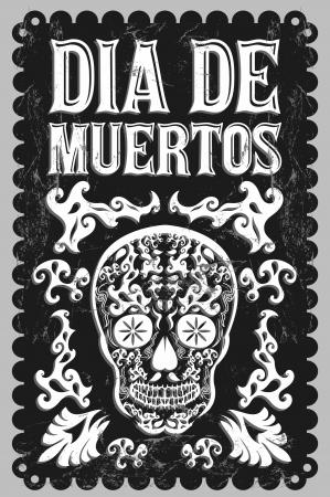 Dia de Muertos - Día mexicano de la muerte español texto vector decoración - letras