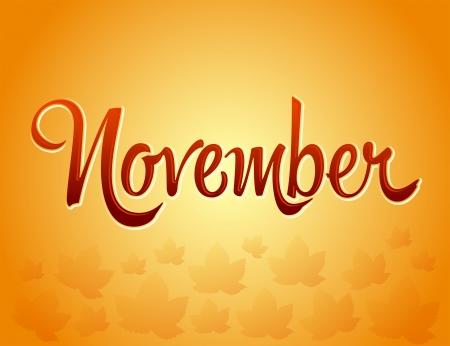 fallen: November lettering and Fallen Leaves - Vector EPS10