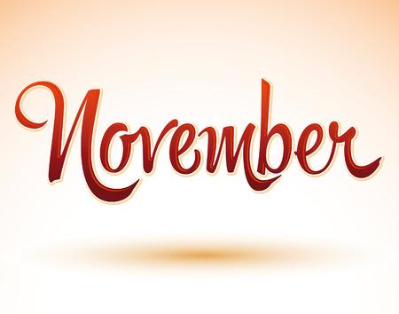 calendario noviembre: Noviembre vector letras