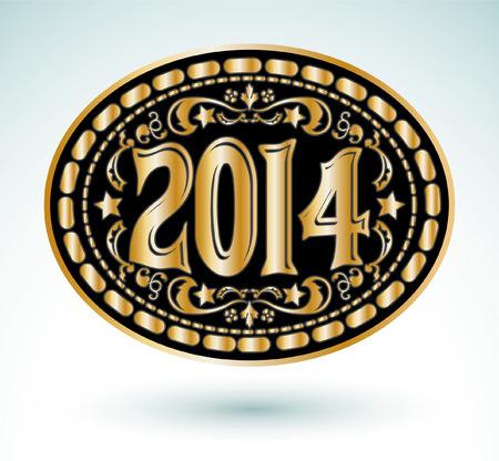2014 new year Cowboy belt buckle design  Vector