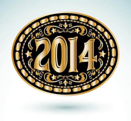 belt buckle: 2014 new year Cowboy belt buckle design  Illustration