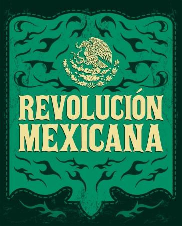 レボルシオン メキシカーナ - メキシコ革命のスペイン語のテキスト - 休日ベクトル ポスター - グランジ効果を簡単に削除することができます。