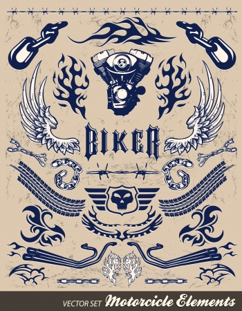engine flame: Chopper Motorcycle elements - vintage style Illustration