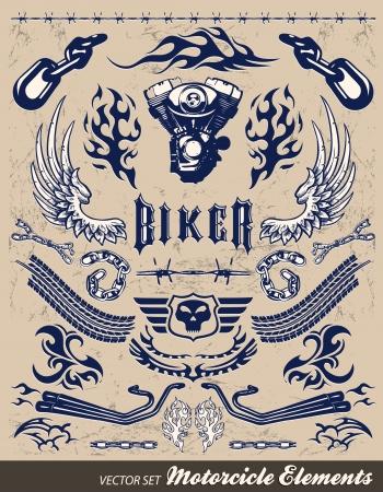 twin engine: Chopper Motorcycle elements - vintage style Illustration