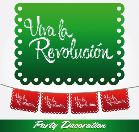 Viva la revolucion - Long live the revolution spanish text - vector mexican decoration Çizim