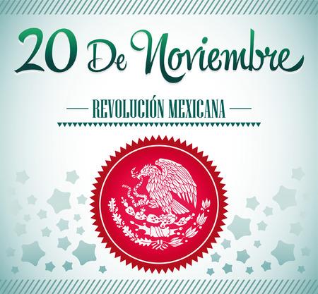 20 de Noviembre, Revolucion Mexicana - Mexicaanse Revolutie spaans tekst kaartje - poster - lint Stock Illustratie