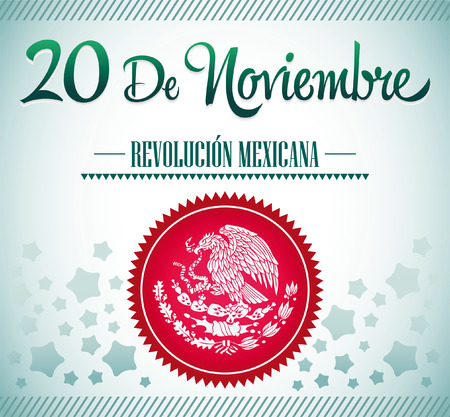 20 de Noviembre, Revolucion Mexicana - Mexican Revolution spanish text card - poster - ribbon