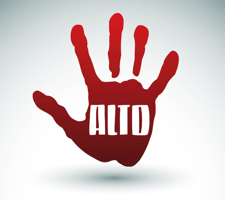 Alto - Stop spanische Text - Hand Illustration Standard-Bild - 23661186