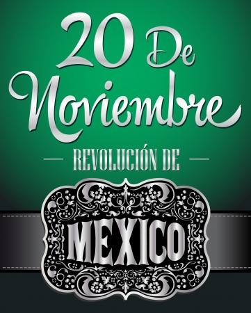 20 de 11 月革命博物館メキシカーナ - 11 月 20 日メキシコ革命のスペイン語のテキストのポスター