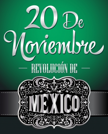 20 de Noviembre Revolucion Mexicana - November 20 Mexican revolution spanish text poster