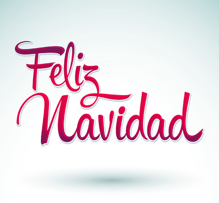 christmas postcard: Feliz Navidad - Merry Christmas spanish text - Vector Calligraphic Lettering
