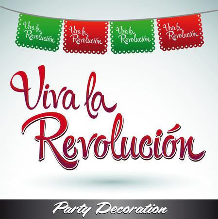 revolucionario: Viva la revolucion - �Viva la revoluci�n espa�ola de texto - vector decoraci�n mexicana Vectores