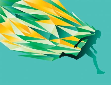 Vrouwelijke silhouet running - abstracte vlammen energie