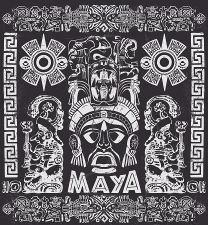Vector conjunto de motivos mayas - Grunge efectos se pueden quitar fácilmente Foto de archivo - 23864843
