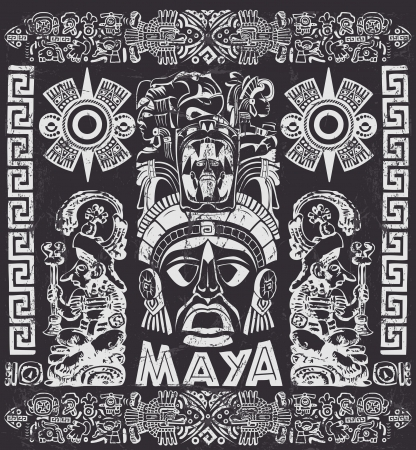 Vector set of Mayan motifs - Grunge effects can be easily removed