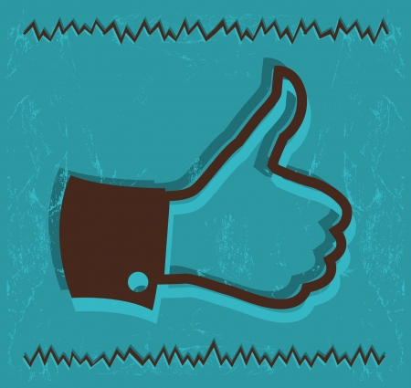 Vintage Thumb up hand symbol  Vector Vector
